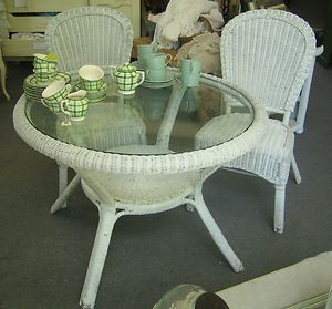 Cute Round Glass Top White Wicker Table and 2 Chairs