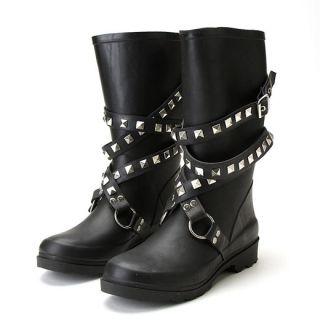 Chooka Moto Metal Studded Black Silvr Rain Boots 10 New