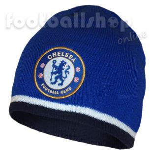 chelsea fc knitted beanie hat royal blue navy trim in stock next day