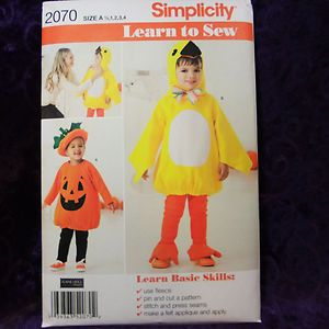 Toddler Child Chick Animal Jack O Lantern Costume Pattern 1 2 4