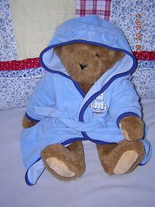 16 Jointed Vermont Teddy Bear   Baby Boys Sz 0 9 Mo. Blue Bathrobe