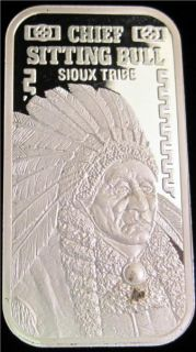 20 Gram 999 Fine Silver Art Bar Chief Sitting Bull Sioux Tribe 261