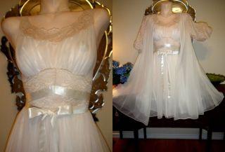 Vanity Fair Robe Gown Set Chiffon Lingerie Lace Antique Sweep
