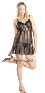 Sexy Black Lace Trim Sheer Chiffon Babydoll Chemise 2pc