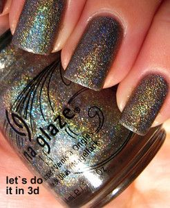 CHINA GLAZE LET S DO IT IN 3D INTENSE HOLOGRAPHIC NAIL POLISH CHARCOAL