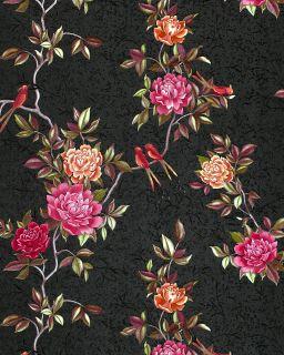 Edem 831 29 Deluxe Flower Wallpaper Roses Birds Black Brown Orange