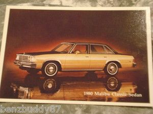 1980 Chevrolet Malibu Classic Sedan full color postcard 80 Chevy GM