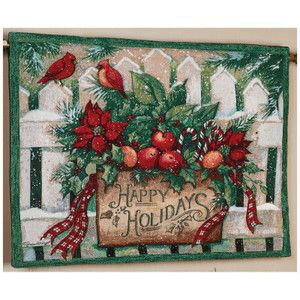 NEW Christmas Happy Holidays Christmas Basket Cardinals Tapestry Wall