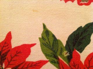 Vintage Linen Cotton Tablecloth Christmas Poinsettia White Red Green