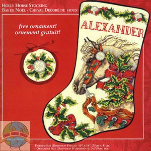 Cross Stitch Kit Lovely Holly Horse Christmas Stocking