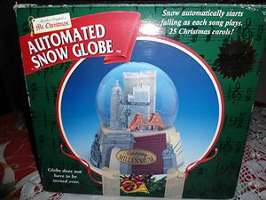 CHRISTMAS AUTOMATED SNOW GLOBE CELEBRATING MILLENNIUM NYC TWIN TOWERS