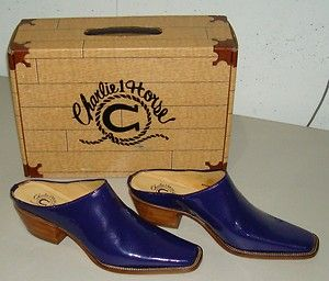 LUCCHESE Charlie 1 Horse Womens Purple Patent Slide Western Boot Shoe