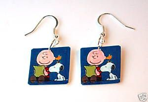 Charlie Brown Snoopy Earrings Jewelry Costume TV Vtg