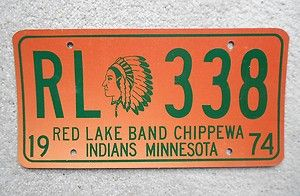 1974 Minnesota Red Lake Band CHIPPEWA Indian License Plate