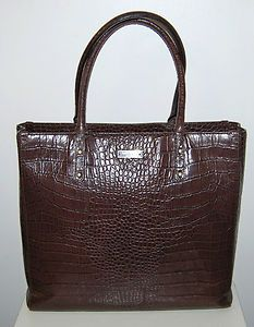 Kate Spade Charlotte brown croc leather purse handbag tote large