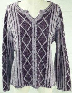 Christopher Banks Silk Angora Sweater XL Lilac Purple Cut Out V Neck