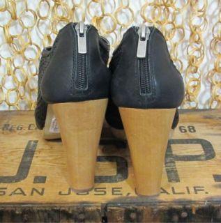 Banana Republic Black Woven Leather Wood Heel Peep Toe Platform Heels