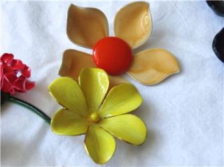 13 Vintage Flower Brooches Earrings Chokers Enamel Rhinestones