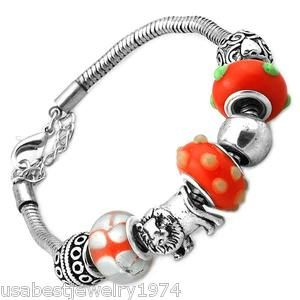 Orange Charmed Bead Crystal Set in Metal Bracelet Memories Charms