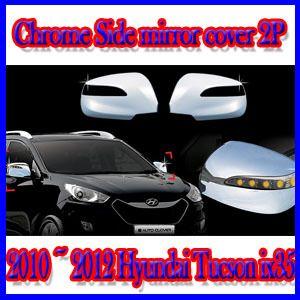 Chrome Side Mirror Cover 2P for 2010 2012 Hyundai Tucson IX35 Only LED