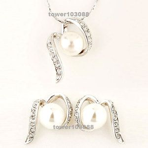 Charm 18K White Gold Plated Swarovski Crystal Cream Pearl Necklace