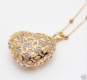 Fashion Silver Gold Plated Heart Crystal Charm Necklace Long Chain 2