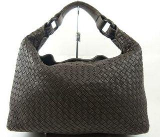 Authentic BOTTEGA VENETA Brown Woven Leather Shoulder Hand Bag Purse
