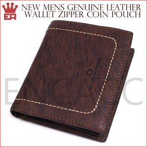 Bifold Mens Wallet Chocolate Color Zipper Coin Pouch Trend
