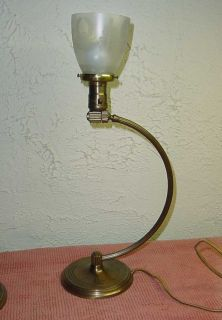 Vintage Art Deco Brass Chase Table Lamp w Glass Shade