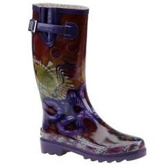 Chooka Womens Hippie Peace Rain Boot Sz 10M
