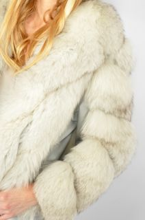 Vtg 80s Silver Chubby Fox Fur Shaggy Boho Hippie Crop Coat Jacket S