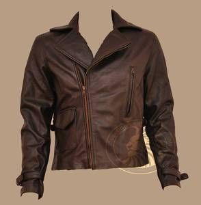 America Cow Hide Brown Biker Leather Jacket Chris Evans BNWT