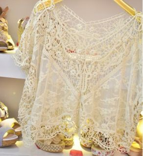 New Japan Women Fashion Sweet Cute Lace Flower Batwing Loose Blouse