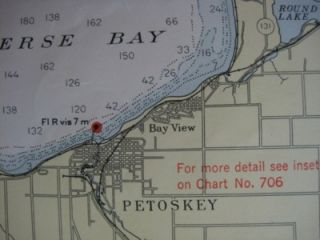 Army Survey Map MACKINAC STRAITS Michigan Cheboygan Lake Huron DeTour