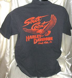MENS T SHIRT LARGE BLACK HARLEY DAVIDSON SOUTH COAST CHULA VISTA