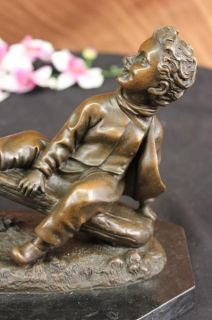 Colonial Era Game Children on Seesaw Bronze Statue Sculpture Figurine