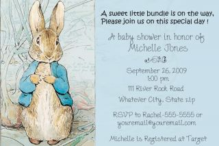 Peter Rabbit Potter Baby Shower Birthday Invitations