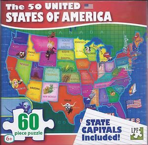 Red USA States Capitals 60 Piece Kids Puzzle New