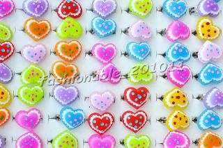 fashion jewelry 100pcs Heart Resin Silver tone Children rings 13 16mm