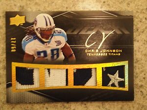 Chris Johnson 09 UD BLACK On Card Auto 3cl Jersey Logo Patch 17 50