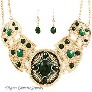 Color Stones Matte Gold Tone 17 22 Chunky Necklace Set Costume Jewelry