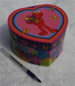 STREET ELMO GIRLS MUSIC HEART JEWELRY BOX CHILDS STREET CASE STURDY