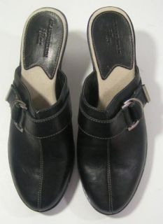 Anne Klein iflex Black Leather Wedge Heel Clogs Slides New Womens Size