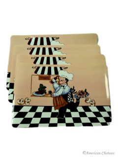 Kitchen on New Set 4 Fat French Chef Kitchen Place Mats Placemats