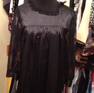 Chelsea Flower Black 100 Silk Babydoll Ruffled Blouse Shirt Medium