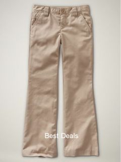 Gap Kids Uniform Girls Gapsheild Chino Pants Khaki New Free Fast
