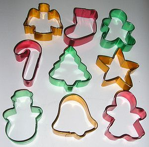 Set of 9 Metal Wilton Holiday Cookie Cutters Christmas Gingerbread