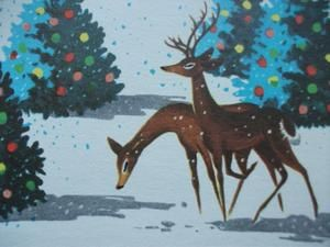 Vintage Greeting Card Merry Christmas Snow Deer Trees Ornaments Mid