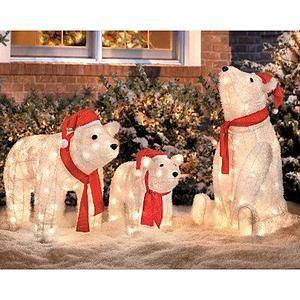 Christmas Polar Bear Bears Family Yard Art Display Holiday Decor