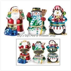 CHRISTMAS MUSIC BOX FIGURINES Set Of 3 Santa SNOWMAN Penguin Holiday
